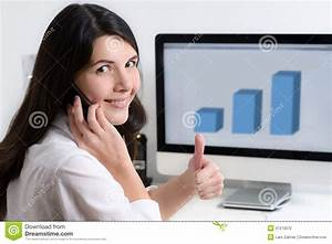 Happy Office Worker Sitting At The Desk Stock Photography ...