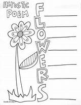 Acrostic Poetry Poem Poems Coloring Pages Classroom Printables Printable Writing Flower Classroomdoodles Templates Doodles Books Summer Word Template End Teaching sketch template