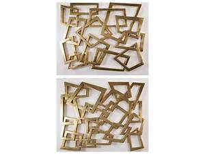 Artmax gold leaf metal wall art piece set