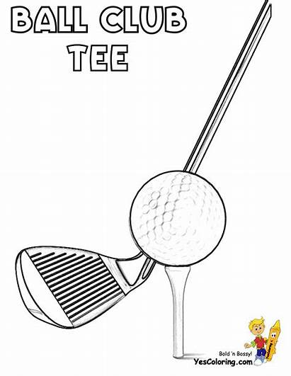 Golf Coloring Pages Ball Tee Club Sports