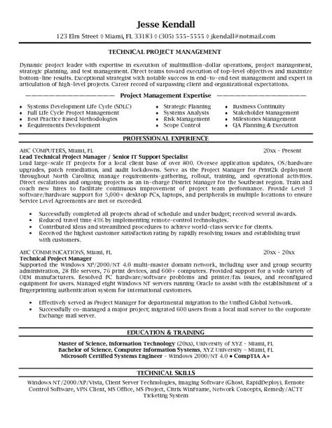 exle resume of it manager exle technical project manager resume sle