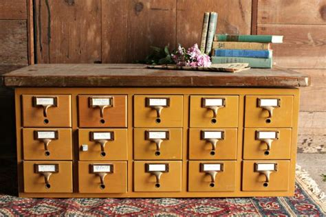 Vintage Library Card File Cabinet by Vintage Card Catalog 15 Drawer File Cabinet By