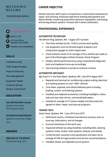 mechanic resume  writing tips resume genius