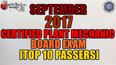 Top 10 Passers September 2017 Certified Plant Mechanic