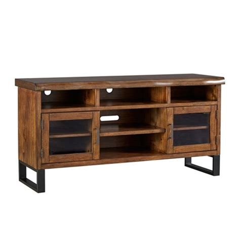 vintage media stand hartwell living edge rustic industrial tv stand brown 3246