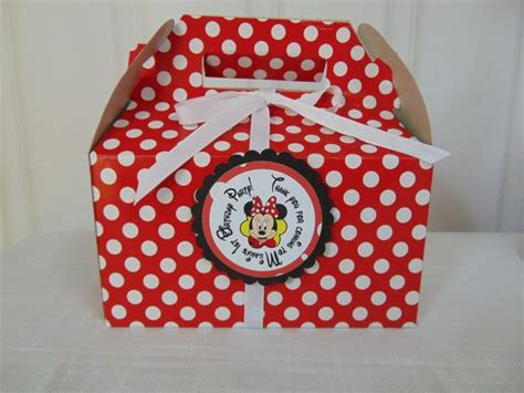 red  white polka dot   party boxes  matching favor tags  ribbon  minnie