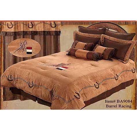 western cowgirl barrel racer embroidered western comforter set