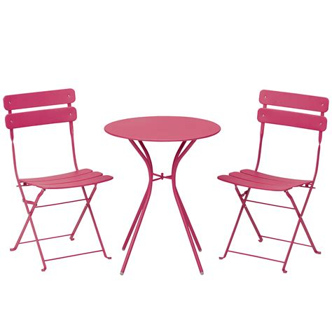 small folding table kmart essential garden 3 piece folding bistro set pink