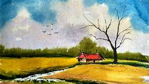 simple landscape painting in watercolor paint with david
