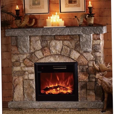 stone electric fireplace  modern rustic home designs