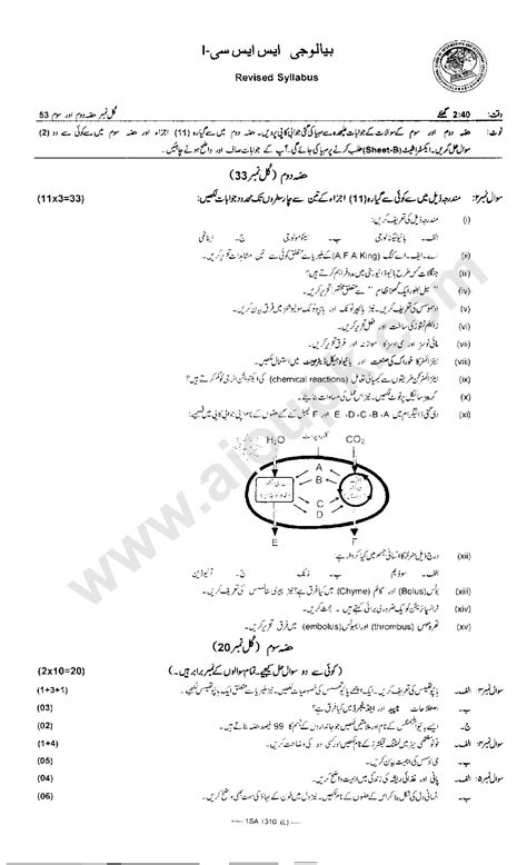 biology model papers  class  federal board fbise