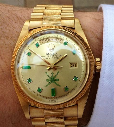 mens barked president  custom emerald markers rolex