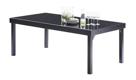 table de jardin rectangulaire avec rallonge noire pour 8