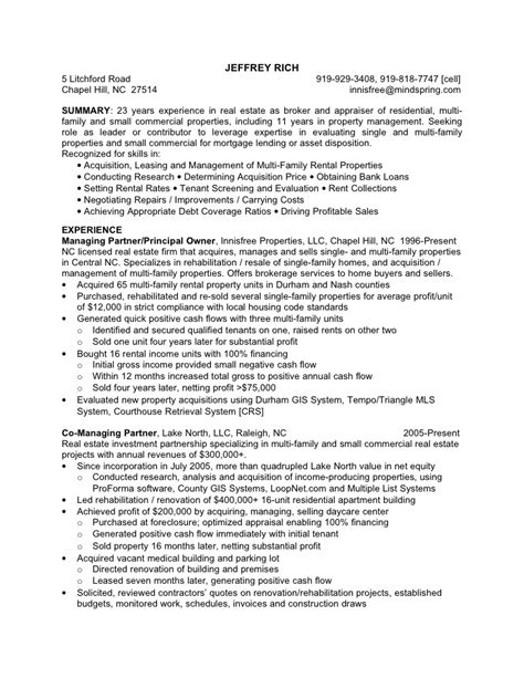 property manager resume sles 28 images real estate