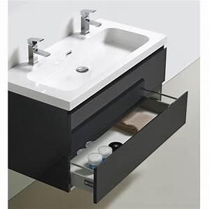 meuble bas de salle de bains gris happy avec plan vasque With meuble salle de bain et vasque