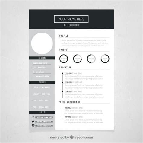 resume color or black and white template diretor curr 237 culo baixar vetores gr 225 tis