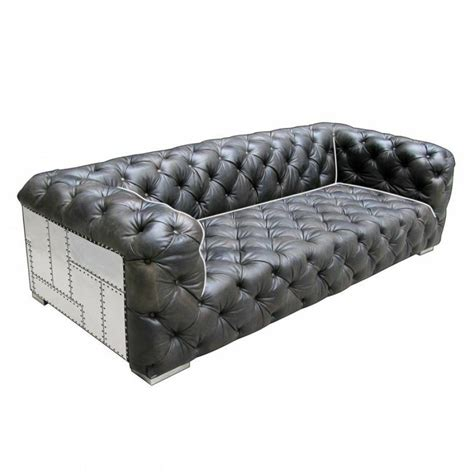 Leather Tufted Loveseat by 99 Quot L Tufted Sofa Vintage Leather Mountain Black Aluminum