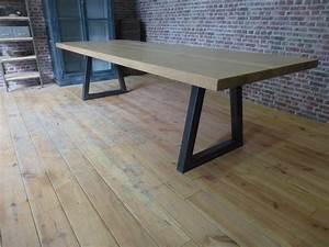 Grande Table Moderne Fer Et Bois Pieds Trap U00e8ze En Fer