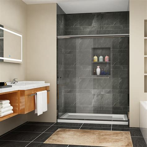 semi frameless sliding shower door bypass glass chrome