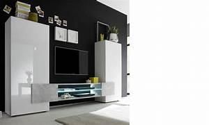 Meuble Tv Effet Beton : ensemble meuble tv moderne laqu blanc et effet b ton trivia ~ Teatrodelosmanantiales.com Idées de Décoration