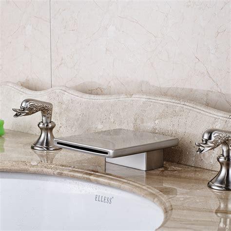 brushed nickel waterfall faucet conewago deck mounted dual handle brushed nickel waterfall