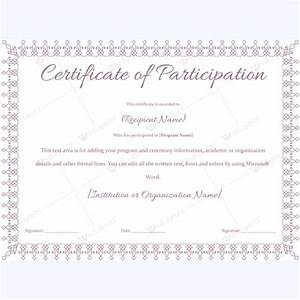 13 best certificate of participation templates images on for Free participation certificate templates for word