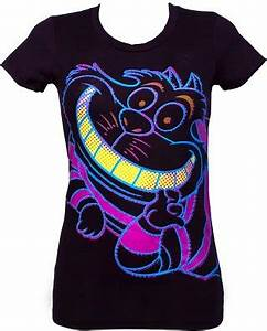 Women s Neon Cheshire Cat Alice In Wonderland T Shirt from