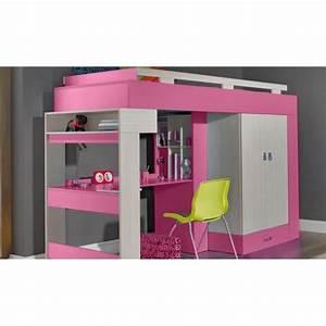 Lit Avec Bureau : lit sureleve avec bureau et armoire vera achat vente lit mezzanine cdiscount ~ Teatrodelosmanantiales.com Idées de Décoration
