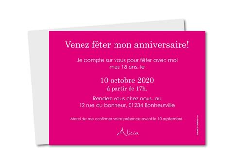 Carte Invitation 18 Ans Texte Invitation Anniversaire 18 Ans