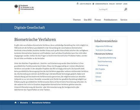 Bsi Kurzinformationen Biometrie sicher wohnen einbruchschutz sicherheitstechnik