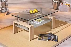 Table De Salon Moderne : table basse moderne bois verre ch ne sonoma alona meuble de salon moins cher matelpro ~ Preciouscoupons.com Idées de Décoration