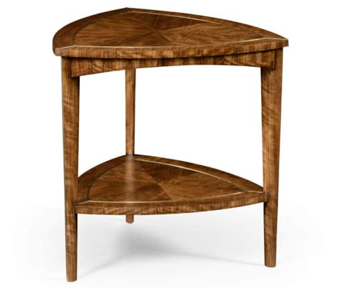 three legged wooden table furniture brown polished wooden triangle end table with