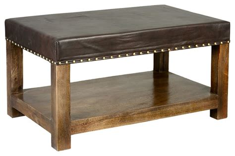 Leather Upholstered Coffee Table by Leather Upholstered Mango Wood 34 Quot 2 Tier Coffee Table
