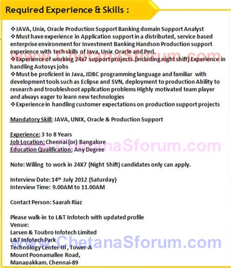 sql unix production support resume experienced walk in l t infotech application support java unix oracle production