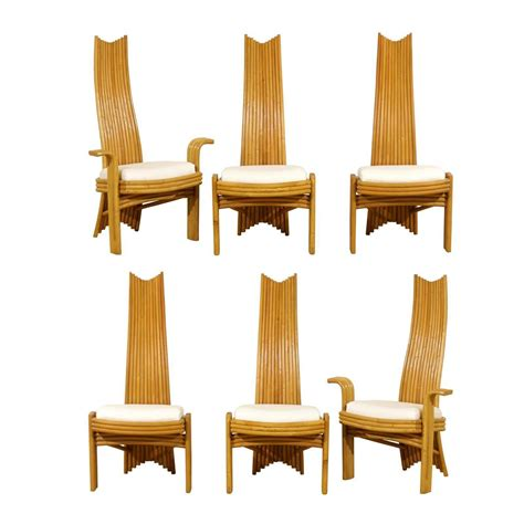 exquisite set of six modern rattan dining chairs in the