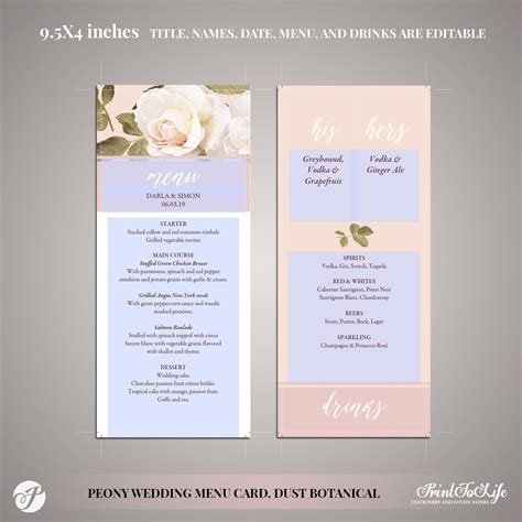 Peony Wedding Menu Template Food & Drinks #Dusty Pink