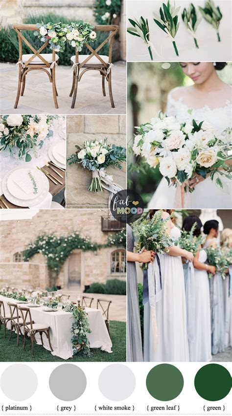 color schemes for weddings green wedding colour schemes grey platinum white smoke