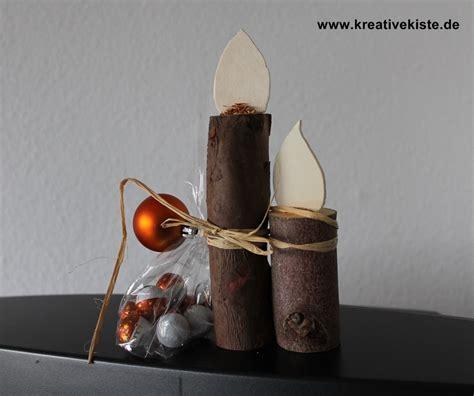 naturholz kerze mit flamme basteln