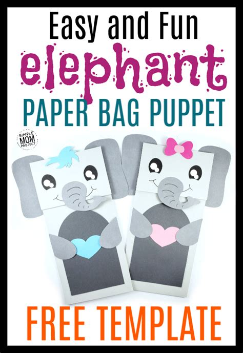 easy diy paper bag elephant puppet  template
