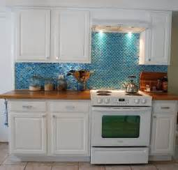 Turquoise Kitchen Backsplash with White Cabinets