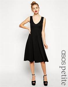 asos petite textured midi skater dress with deep v neck in With asos robe noire