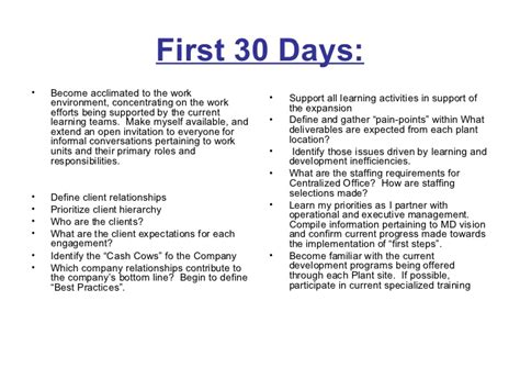 30 60 90 Day Business Plan. 6 First 30. Business Plan