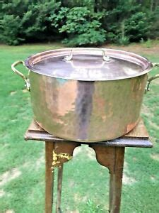 dehillerin  qt copper rondeau stock pot wlid tin lining ebay