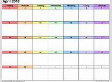 April 2018 Calendar Printable with Holidays ExcelPDF