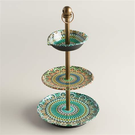 Multicolor Mosaic Enameled Threetiered Jewelry Stand