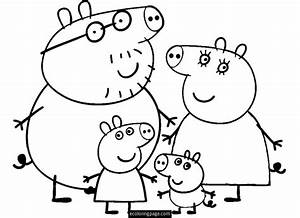 peppa pig and family coloring page for kids printable With peppa pig drawing templates