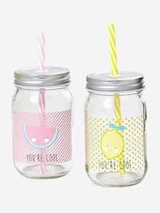 Mason Jar Paille : bocal avec paille en verre h 14 cm jar cups and kawaii ~ Teatrodelosmanantiales.com Idées de Décoration