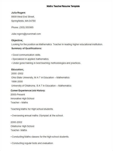 teacher resume templates   pages publisher