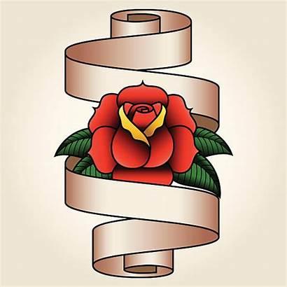 Sailor Jerry Rose Vector Banner Tattoo Clip