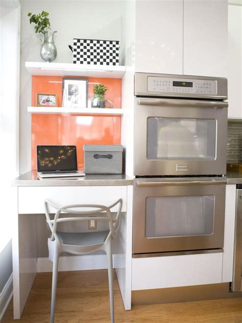 Dazzling Updated Kitchen by Office Nook Gray Desk And Orange Accent Walls On